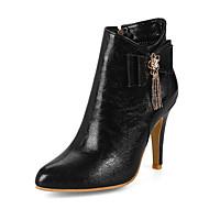 お買い得  レディースブーツ-女性用 靴 レザーレット 冬 ブーティー ファッションブーツ ブーツ ポインテッドトゥ ブーティー/アンクルブーツ スパークリンググリッター のために カジュアル ドレスシューズ ホワイト ブラック レッド ライトブラウン