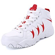 Women's Shoes PU Spring Fall Comfort Athletic Shoes Running Shoes Round Toe For Athletic Casual Black/White Red White