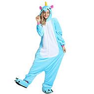 hesapli -Kigurumi Pijama uçan At / Unicorn Onesie Pijama Kostüm Kadife Mink Gül / Mavi / Pembe Cosplay İçin Yetişkin Hayvan Sleepwear Karikatür