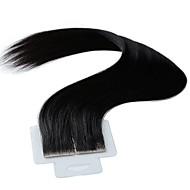 Tape In Hiukset Extensions 20kpl / pakkaus 2,5 g / kpl Musta 20 tuumainen