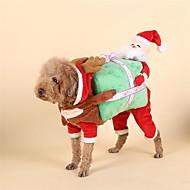 Χαμηλού Κόστους Χριστουγεννιάτικα κοστούμια για κατοικ-Σκύλος Στολές Χριστούγεννα Ρούχα για σκύλους Χριστούγεννα Κόκκινο Άλλο Υλικό Πούπουλα Στολές Για κατοικίδια Ανδρικά Γυναικεία Χριστούγεννα