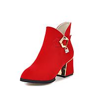 Dame Sko Kunstlær Vinter Trendy støvler Støvler Tykk hæl Spisstå Ankelstøvler Spenne Glidelås Til Avslappet Formell Svart Rød