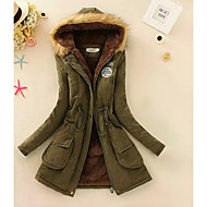 Women's Sports & Outdoor / Daily Street chic Solid Colored Long Parka, Cotton / Polyester Long Sleeve Black / Pink / Army Green XL / XXL / XXXL / Fleece Lining