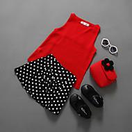 Dívčí Bavlna Polyester Jednobarevné Puntíky Léto Soupravy,Bez rukávů Sady oblečení