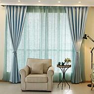 Propp Topp Dobbelt Plissert Blyant Plissert Window Treatment Moderne , Ensfarget Stue Bomull Materiale Blackout Gardiner Hjem Dekor For
