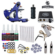 Starter Tattoo Kits-Tattoo Machine Starter Kit 1 cast iron machine liner & shader LCD power supply 1 x stainless steel grip 10 pcs Tattoo Needles