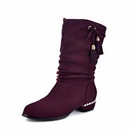レディース 靴 レザーレット 冬 ファッションブーツ 前かがみのブーツ ブーツ ラウンドトウ ミドルブーツ タッセル 用途 カジュアル ドレスシューズ ブラック グレー パープル Brown レッド