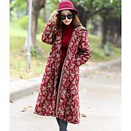 Feminino Casaco Longo Para Noite Casual Simples Outono Inverno,Floral Longo Algodão Raiom Poliéster Colarinho de Camisa Manga Longa