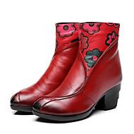 Damen Schuhe Leder Frühling Herbst Komfort Modische Stiefel Stiefel Für Normal Schwarz Rot