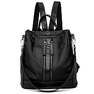 Women Bags Nylon Backpack Zipper for Outdoor All Season Black