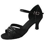 Недорогие -Для женщин Латина Сатин Сандалии На каблуках Профессиональный стиль Каблуки на заказ Черный Персонализируемая