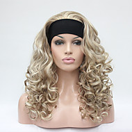 halpa -Hivision Naisten Synteettiset peruukit Suojuksettomat Pitkä Kihara Vaaleahiuksisuus Lämmönkestävä Luonnollinen peruukki Rooliasu peruukki
