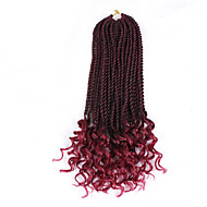 """büküm Örgü 1pc / paket Saç Örgüleri Bukle Senegal Burgusu 16"""" Yeni gelen Afrikalı Örgüsü Sentetik Saç Siyah Siyah / Çilek Sarışın Siyah /"""
