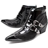 メンズ 靴 本革 馬毛 オールシーズン コンバットブーツ ブーツ ブーティー/アンクルブーツ ベックル 用途 結婚式 パーティー ブラック