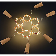 6pcs 2m 20led cortiça em forma de garrafa rolha lâmpada vidro vinho prata fio de cobre fio iluminação festa de natal casamento decoração