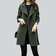 Women's Going out Fall / Winter Regular Coat, Solid Colored Shirt Collar Long Sleeve Cotton / Acrylic / Polyester Brown / Black / Army Green L / XL / XXL