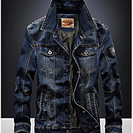 Masculino Jaqueta jeans Casual Simples Outono,Estampado Padrão Algodão Decote Redondo Manga Longa