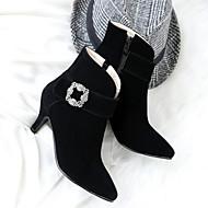 Feminino Sapatos Pele Nobuck Outono Inverno Inovador Botas da Moda Curta/Ankle Conforto Botas Salto Agulha Dedo Apontado Botas Curtas /