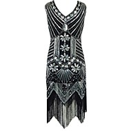 cheap -The Great Gatsby Vintage 1920s Costume Women's Party Costume Flapper Dress Cocktail Dress Ball Gown Black / Red / Golden Vintage Cosplay Polyester Sequin Sleeveless Cold Shoulder Knee Length