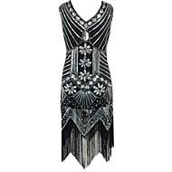 Χαμηλού Κόστους -Υπέροχος Γκάτσμπυ Βίντατζ Δεκαετία του 1920 Στολές Γυναικεία Κοστούμι πάρτι Φανελάκι φόρεμα Κοκτέιλ Φόρεμα Τουαλέτα Μαύρο / Κόκκινο / Χρυσαφί Πεπαλαιωμένο Cosplay Πολυεστέρας Πούλια Αμάνικο Κρύος ώμος