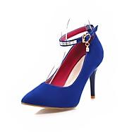 tanie Small Size Shoes-Damskie Obuwie Nubuk Wiosna Lato Pasek na kostkę Szpilki Szpilka Pointed Toe Stras Sztuczna perła Klamra na Ślub Impreza / bankiet Black