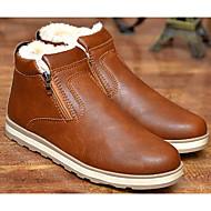Masculino sapatos Couro Ecológico Primavera Outono Conforto Botas de Neve Botas Botas Curtas / Ankle para Casual Preto Marron Azul