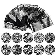 baratos -10 Decalques de unha Adesivo de unha Preta Nail Art Design Decoração