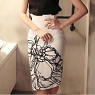 Damer I-byen-tøj Knælængde Nederdele Bodycon Trykt mønster Sommer
