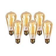 baratos Incandescente-GMY® 6pcs 60W E26 ST64 Branco Quente 2200 K Retro Regulável Decorativa Incandescente Vintage Edison Light Bulb AC 110-130V V