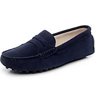 זול מוקסינים לנשים-בגדי ריקוד נשים נעליים עור אביב קיץ נוחות נעליים ללא שרוכים שטוח בוהן עגולה בוהן סגורה ל קזו'אל בָּחוּץ אפור כחול כהה כחול ים