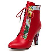 お買い得  レディースブーツ-女性用 靴 レザーレット 冬 秋 ブーティー ファッションブーツ ブーツ チャンキーヒール 編み上げ のために カジュアル オフィス&キャリア ドレスシューズ ホワイト ブラック レッド