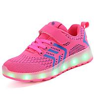 baratos Sapatos de Menina-Para Meninas Sapatos Arrastão / Tecido Primavera Verão Conforto / Tênis com LED Tênis Velcro / LED para Azul / Rosa claro / Preto /