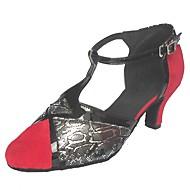billige Moderne sko-Dame Moderne Semsket fuskelær Høye hæler Innendørs Kustomisert hæl Svart/Rød Svart/Oransje / Kan spesialtilpasses