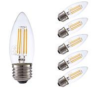 tanie Więcej Kupujesz, Więcej Oszczędzasz-GMY® 6szt 3.5W 350 lm E26 Żarówka dekoracyjna LED B10 4 Diody lED COB Przysłonięcia Dekoracyjna LED Light Ciepła biel AC 110-130V