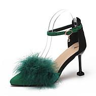 abordables Talons pour Femme-Femme Cuir Verni Printemps Bride de Cheville Chaussures à Talons Talon Aiguille Bout pointu Boucle Noir / Gris / Vert / 3-4