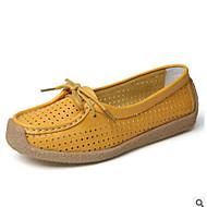 Mujer Zapatos Cuero de Napa / Microfibra Primavera verano Confort / Mary Jane Zapatillas de deporte Tacón Plano Punta cerrada Hebilla Naranja / Blanco / Azul / Blanco y Verde LvJliRV2LZ