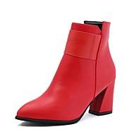 Žene Cipele PU Zima Jesen Udobne cipele Čizme Ravna potpetica Okrugli Toe za Kauzalni Crn Crvena