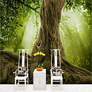 billige Tapet-Trær / Blader Art Deco 3D Hjem Dekor Moderne Rustikk Tapetsering , Lerret Materiale selvklebende nødvendig Veggmaleri , Tapet