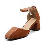cheap Women's Heels-Women's Shoes PU Spring Summer Comfort Novelty Heels Chunky Heel Square Toe Beading Buckle for Wedding Party & Evening Black Brown Red