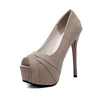 レディース 靴 レザーレット 春 夏 Tストラップ サンダル スティレットヒール オープントゥ/ピープトウ リボン紐 のために カジュアル パーティー ブラック アーモンド