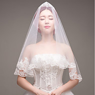 cheap Wedding Veils-One-tier Lace Applique Edge Bridal Wedding Wedding Veil Fingertip Veils 53 Embroidery Lace Lace Tulle