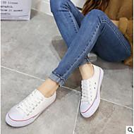 baratos Sapatos Femininos-Mulheres Sapatos Lona Primavera / Outono Conforto Tênis Sem Salto Ponta Redonda Branco / Preto / Verde