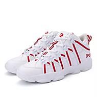 メンズ 靴 チュール PUレザー 春 秋 コンフォートシューズ アスレチック・シューズ サッカー 編み上げ のために スポーツ ブラック ブラックとホワイト レッド-ホワイト