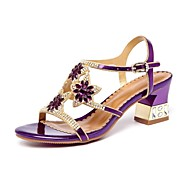 cheap Women's Sandals-Women's Shoes PU Spring Summer Gladiator Sandals Chunky Heel Peep Toe Rhinestone Crystal for Party & Evening Gold Purple Blue