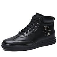 男性用 靴 PUレザー 秋 冬 コンフォートシューズ ブーツ ホワイト ブラック