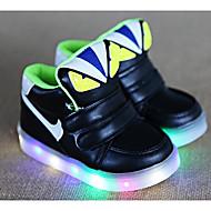 Недорогие -Мальчики обувь Полиуретан Зима Осень Удобная обувь Кеды Для прогулок На липучках для Повседневные Белый Черный Зеленый Розовый
