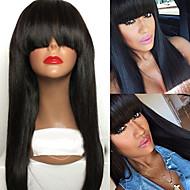 Naisten Aitohiusperuukit verkolla Brasilialainen Aidot hiukset Lace Front 130% Tiheys Otsatukalla Vauvantukalla Suora Peruukki Jet Black