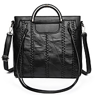 cheap Shoulder Bags-Unisex Bags Sheepskin Shoulder Bag Zipper for Casual All Season Black