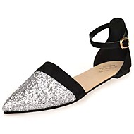 cheap Women's Flats-Women's Shoes PU Winter Comfort Flats Flat Heel Pointed Toe Sequin for Casual Silver Purple