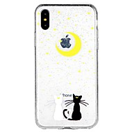 billiga Mobil cases & Skärmskydd-fodral Till Apple iPhone X iPhone 8 iPhone 8 Plus iPhone 6 iPhone 6 Plus iPhone 7 Plus iPhone 7 Genomskinlig Mönster Skal Katt Glittrig